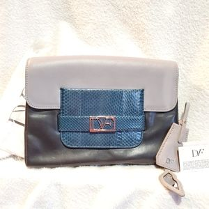 DVF Mimosa Colorblock Snakeskin Leather Clutch NEW